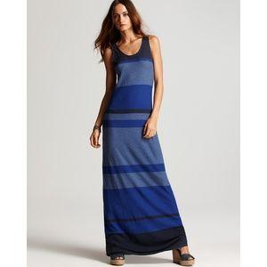 Vince Blue Multi Stripe Maxi Dress Colorblock